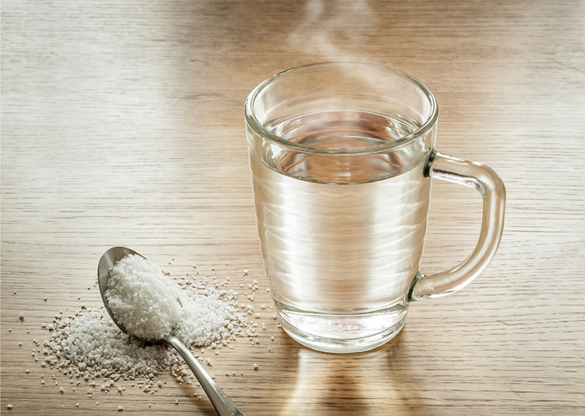 Salt and hot water